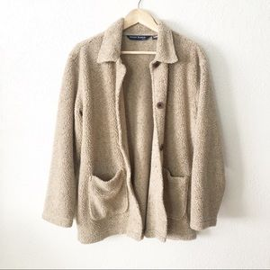 Vintage Oversize Sherpa Button Up Cardigan Sweater